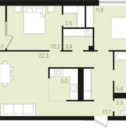 Apartment, 3 rooms, 82.7 m²