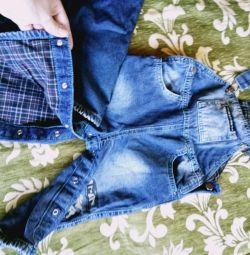 Denim warmed overalls for children