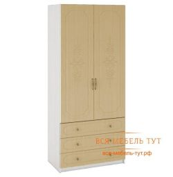 Elsa Wardrobe 2-fold with MDF drawers (white / mother of pearl) ShK-915