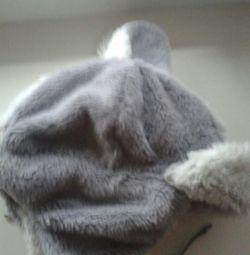 Pălărie din blană faux cu urechi și vizieră