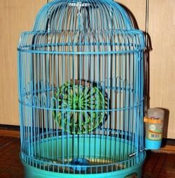 Beautiful blue bird cage. Height 47 cm