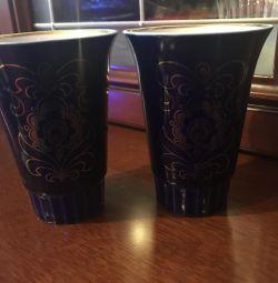 2 кобальтовых стакана