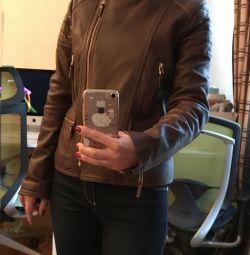 Jachetă din piele Massimo Dutti