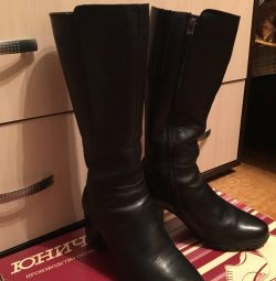 Women's boots natural fur and leather