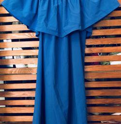 Derin mavi renkli yazlık elbise