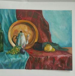 Oil painting still life with a tray and a teapot