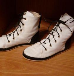 Λευκά πάνινα παπούτσια, γνήσιο δέρμα