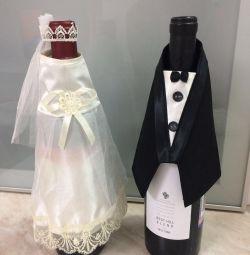 Свадебные наряды для бутылок