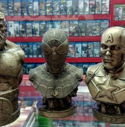 Busts of Marvel and Hellboy Heroes