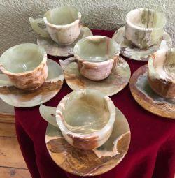 Set de ceai din onix natural