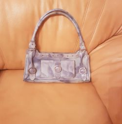 Lacquered leather bag color sky of Spain