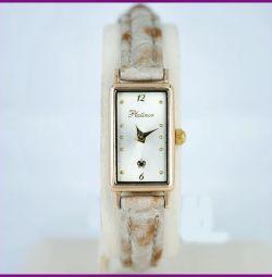Золотые кварцевые часы