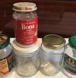 Glass jars. 10rub