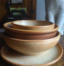 Clay salad bowls