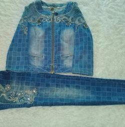 denim suit with rhinestones