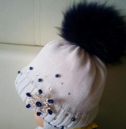 Winter hat with natural fur, 50-52