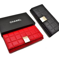 Γυναικεία δερμάτινη θήκη CHA-NEL (κόκκινη, μαύρη)