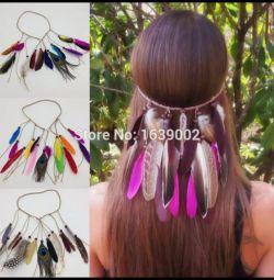 Бохо украшение для волос новое с перьями