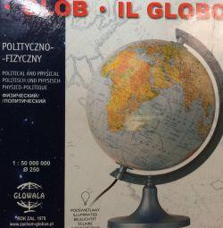 Globe 250 mm political-physical backlit