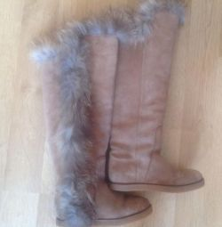 Μπότες K Πραγματική σουέτ και γούνα πραγματικής αλεπού