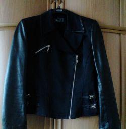 Jachetă elegantă, jachetă din piele neagră