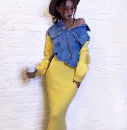 Knitted suits with denim tops