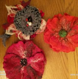 Handmade felted brooches.