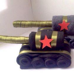Tank of men's socks gift to man for 23 February