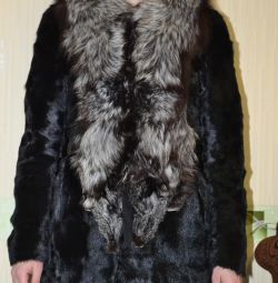 Short fur coat of natural fur