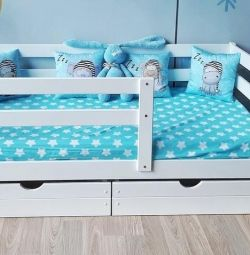 Bed massif children's from a natural tree