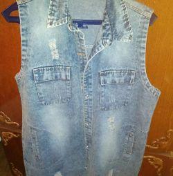 Жилет джинсовый новый 52-56