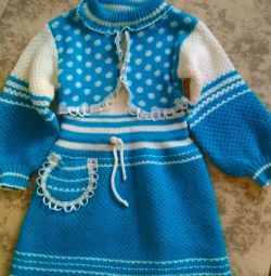 Knitted dress for a girl 2-4 years old