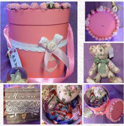 Cadou Flori Kinder Jucărie Ciocolată Cutie de ursuleț