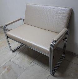 Canapea de birou din catifea cromata