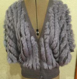 Γκρι γούνινο γιλέκο κιμονό πλεκτό