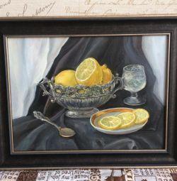 """Pictură în ulei """"Natura mortă cu lămâi"""""""