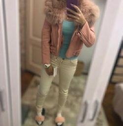 Крутая Куртка -дубленка пудра