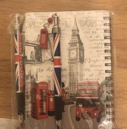 Λονδίνο μπρελόκ, σημειωματάριο, αγγλικό δώρο στυλό