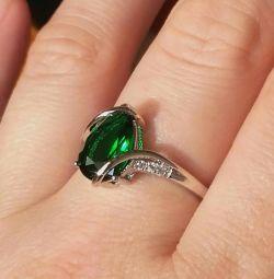 gilded ring green cubic zirconia