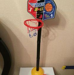 Basketball basket with a ball.