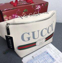 Gucci τσάντα λευκή ζώνη