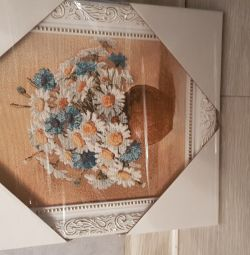 Tapestry picture Bouquet of cornflowers and daisies