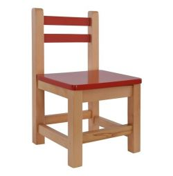 CHILDREN'S CHAIR RED WITH NATURAL FOOT HM10189.0