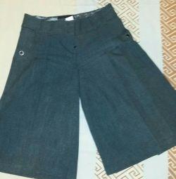 Pantaloni scurți culottes, gri, bumbac