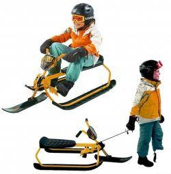 Snow scooter with bicycle handles and adjustable si