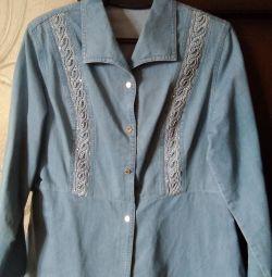 Cămașă de jeans pentru femei cu baska p.46-48