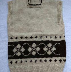 Knitted sheepskin vest
