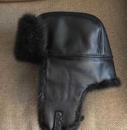 New hat made of genuine leather and fur