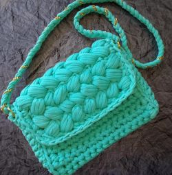 Bag, clutch of knitted yarn