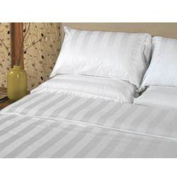 Lenjerie de pat alb cu dungi din satin